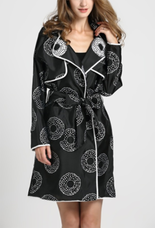 JER-SR7184-Black - Womens Circle Print Belted Trench Style Coat