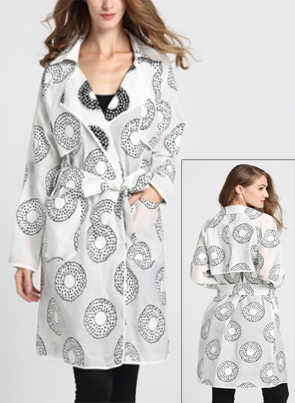 JER-SR7184-White - Womens Circle Print Belted Trench Style Coat