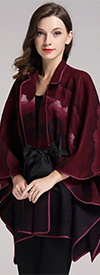 JER-SR7197-Fuchsia - Womens Grommet Tie-Waist Printed Cape JacketFloral Jacket