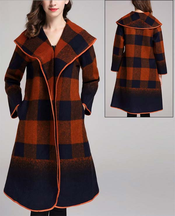 JER-SR7208- NavyBrown - Womens Wide Collar Graphic Print Pocketed Zip Coat