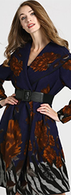JER-SR7209 - Womens Wide Collar Abstract Floral Print Belted Coat