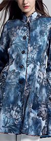 JER-SR7236-BlueFlower - Ladies Mandarin Collar Button-Up Print Jacket