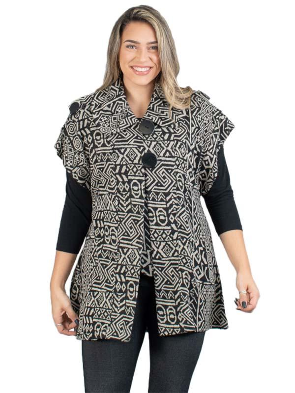 MOO-7359 - Womens Oversized Button Short Sleeve Knit Jacket