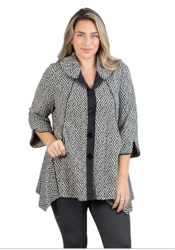 MOO-8566 - Ladies Textured Print Button-Up Jacket with Pockets