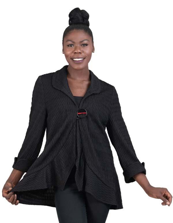 MOO-8567 - One Button Ruffle Hem Textured Knit Jacket