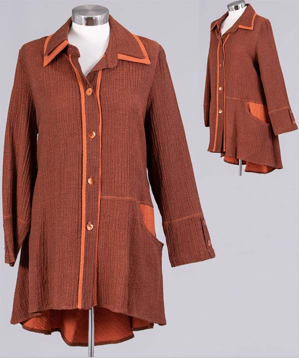 MOO-9194-Rust - Ladies Button-Up Contrast Trim High Low Tunic Top