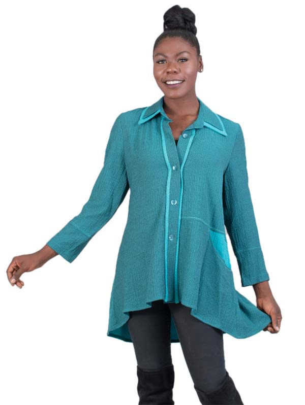 MOO-9194-Teal - Ladies Button-Up Contrast Trim High Low Tunic Top