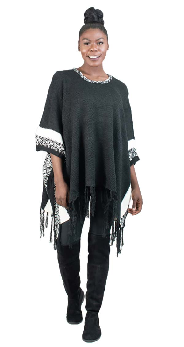RAD-16537 - Womens Fringe Trim Poncho
