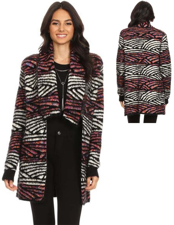 TUS-MX264577 - Womens Fuzzy Mixed Knit Cardigan