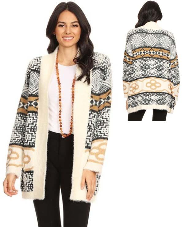TUS-MX30035 - Womens Fuzzy Knit Printed Cardigan