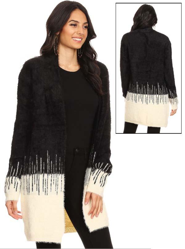 TUS-MX6054B - Womens Fuzzy Knit Color Block Cardigan