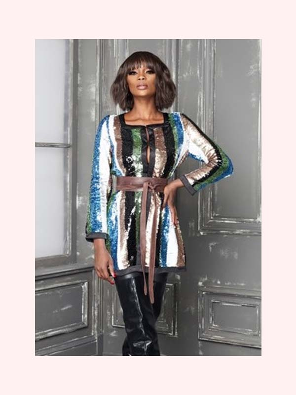Berek K619447 Long-Sleeve Vertical Stripe Sequin Jacket