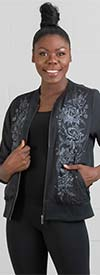 DG2 2201-Black - Floral Embroidered Design Womens Jacket