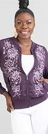 DG2 2201-Eggplant - Floral Embroidered Design Womens Jacket
