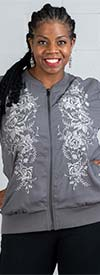 DG2 2201-Gray - Floral Embroidered Design Womens Jacket