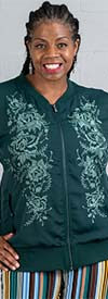 DG2 2201-Green - Floral Embroidered Design Womens Jacket