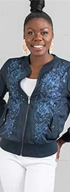 DG2 2201-Navy - Floral Embroidered Design Womens Jacket