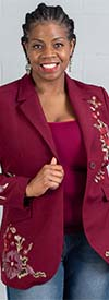 DG2 2300-Burgundy - Womens Notch Lapel Blazer With Embroidered Floral Design