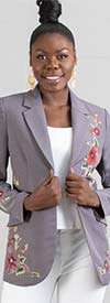 DG2 2300-Gray - Womens Notch Lapel Blazer With Embroidered Floral Design