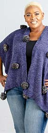 Fashion Apparel FP60453-Navy - Womens Poncho With Pom-Pom Adornments
