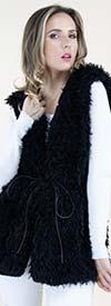 Fashion Apparel FP60460-Black - Tie Front Womens Faux Fur Vest