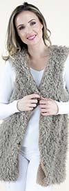 Fashion Apparel FP60460-Khaki - Tie Front Womens Faux Fur Vest
