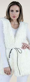 Fashion Apparel FP60460-White - Tie Front Womens Faux Fur Vest