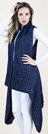 Fashion Apparel FP60508-Navy - Long Crochet Womens Sweater Vest