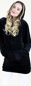Fashion Apparel FP60644-Black - Crushed Velvet Style Hooded Womens Top With Pockets