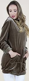 Fashion Apparel FP60644-Khaki - Crushed Velvet Style Hooded Womens Top With Pockets