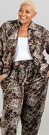 Fashion Island JK-07-BrownBeige - Womens Velour Knit Animal Print Jog Set