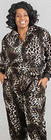 Fashion Island JK-07-BrownBlack - Womens Velour Knit Animal Print Jog Set
