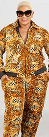Fashion Island JK-07-Gold - Womens Velour Knit Animal Print Jog Set