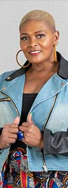 For Her 81689 Womens Denim And Faux Leather Jacket