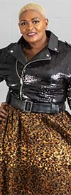 For Her 81691-Black - Faux Leather And Sequin Motorcycle Style Jacket