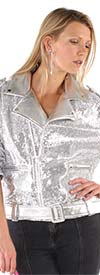For Her 81691-Silver - Faux Leather And Sequin Motorcycle Style Jacket