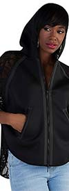 For Her 8676-Black - Sheer Lace Sleeve Womens Three Quarter Sleeve Zip-Up Jacket