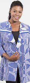 IC Collection 6887J - Womens Three Quarter Sleeve Jacket In Stripe Print Design