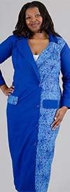 KaraChic 501-BluePurple - Womens Print Design Off-Set Button Style Duster Jacket With Pockets