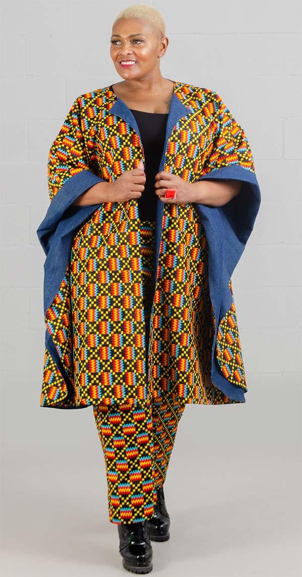 KaraChic 7021-BlackYellow - Womens Bold Print Poncho Duster With Denim Lining