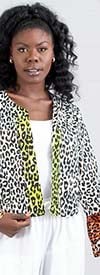 KaraChic 9030 - Womens African Print Style Ruffle Cuff Sleeve Jacket
