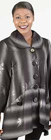Moonlight 8431 - Womens Embossed Leaf Print Jacket With Large Buttons