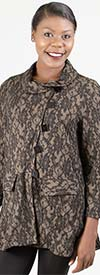 Moonlight 8444 - Womens Floral Jacquard Jacket With Square Buttons