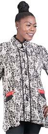Moonlight 9181 - Toggle Button Mandarin Collar Textured Design Womens Jacket
