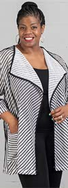 Moonlight 8862 - Womens Jacket In Sheer Fabric With Striped Design