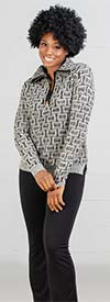 Nicole Sabbattini D107 Womens Zipper Placket Knitted Sweater
