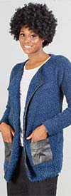 Nicole Sabbattini L712 Womens Knitted Cardigan With Pockets Trimmed in Faux Leather