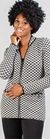 Nicole Sabbattini NS821 Ladies Zipper Front Knit Print Cardigan With Faux Leather Trim