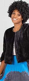 Nina Leonard L0419A - Womens Faux Fur Bell Sleeve Bolero Topper