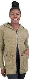 Ravel Q213960 Womens Fuzzy Knit Hoodie Sweater With Pockets